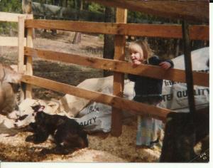 Vicki and a new calf